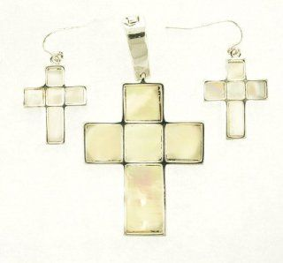 Magnet Function  M.O.P Cross Pendant and Earring Set Jewelry