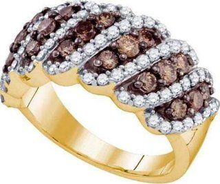 Real Diamond Wedding Engagement Ring 1.52CTW COGNAC DIAMOND LADIES FASHION BAND 10K Yellow gold Jewelry