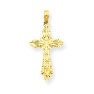 14k Yellow Gold Diamond Cut Fancy Cross Pendant Jewelry