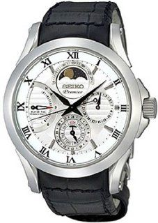 Seiko SRX003 Mens Premier Kinetic Direct Drive Moonphase White Dial Black Leather Watch at  Men's Watch store.