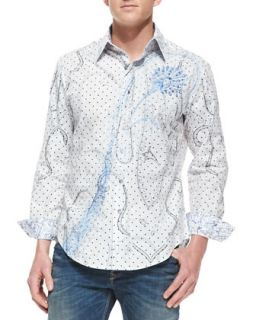 Chianti Poplin Paisley Design Long Sleeve Shirt   Robert Graham