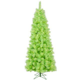 7.5' Pre Lit Lime Green Mixed Pine Cashmere Christmas Tree   Clear Lights   Artificial Christmas Trees