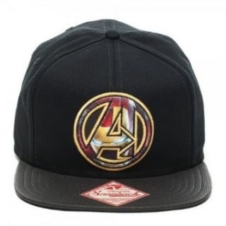 Marvel Avengers Iron Man Logo Black Snapback Cap Clothing