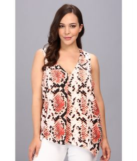 DKNYC Plus Size Printed Snake Crepe Sleeveless Draped Blouse Womens Blouse (Brown)