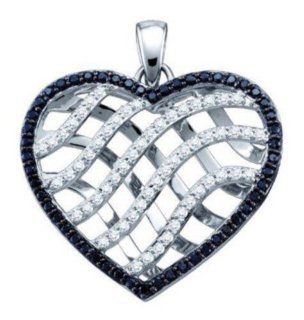 "1.02 cttw 10k White Gold Black Diamond and White Diamond Open Heart Pendant Comes With 18"" Gold Plated Bonus Chain (Real Diamonds 1.02 cttw) Jewelry"