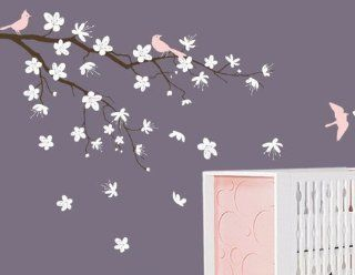Romantic Cherry Flower Blossom Branch Tree Trees Bird Home Art Decals Wall Sticker Vinyl Wall Decal Stickers Living Room Bed Baby Room 668   Other Products