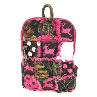 Cute Patchwork Camo Deer Small Backpack Purse Pink Camouflage Polka Dot Clothing