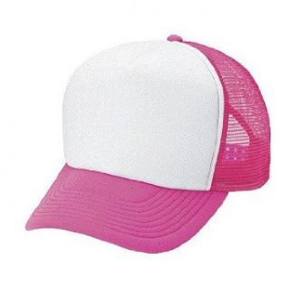 Blank Neon Mesh Trucker Hat Cap (White / Neon Pink) Baseball Caps Clothing
