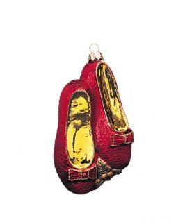 Kurt Adler Polonaise Hand Blown Hand Painted Wizard of Oz Slipper, Christmas Ornament   Decorative Hanging Ornaments