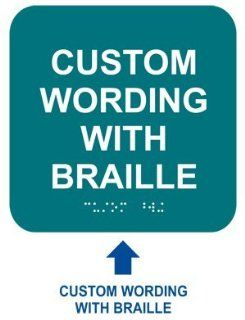 ADA Custom Wording Braille Sign RRE 680 CUSTOM WHTonBHMABLU Wayfinding  Business And Store Signs