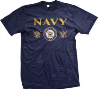 United States Navy Mens T shirt, Bald Eagle With Anchor Naval Shield Shirt Clothing