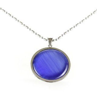 High Polished Stainless Steel Purple Moonstone Pendant Jewelry
