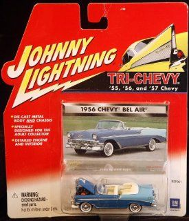 Johnny Lightning Tri Chevy 1956 Chevy Bel Air Conveertable 2 Tone Blue Toys & Games