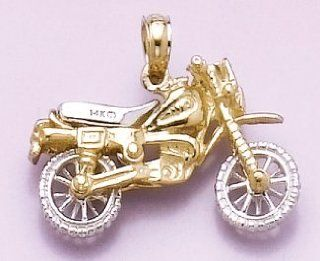 Gold Misc Travel Charm Pendant 3 D Dirt Bike Motorcycle Moveable Tires Million Charms Jewelry