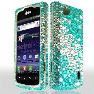 LG Optimus M+ / Plus / MS695 MS 695 Cell Phone Full Crystals Diamonds Bling Protective Case Cover Silver and Blue 2 tone Mix Love Hearts Gemstones Design Cell Phones & Accessories