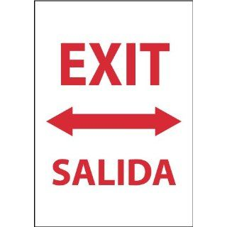 "NMC M696RC Bilingual Exit/Entrance Sign, Legend ""EXIT"" with Graphic, 14"" Length x 20"" Height, Rigid Polystyrene Plastic, Red on White Industrial Warning Signs"