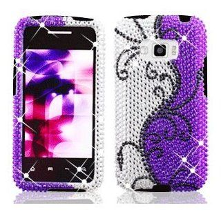 LG Optimus Elite LS696 LS 696 Cell Phone Full Crystals Diamonds Bling Protective Case Cover Silver and Purple with Black Flower Vines Design Cell Phones & Accessories