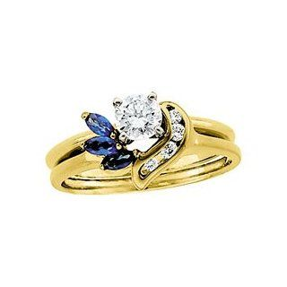 14k Yellow Gold Diamond & Sapphire Wrap by US Gems, Size 6 Jewelry
