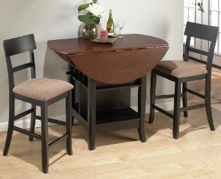 Jofran Brunette Cherry 3 Piece Double Leaf Counter Height Table Set   Dining Room Furniture Sets