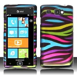 Samsung Focus Flash i677 i 677 Black with Color Rainbow Zebra Animal Skin Design Snap On Hard Protective Cover Case Cell Phone Cell Phones & Accessories