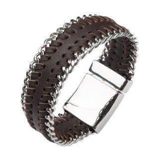 "Inox Mens Brown Leather Stainless Steel Curb 8.5"" Bracelet BR444 Link Bracelets Jewelry"