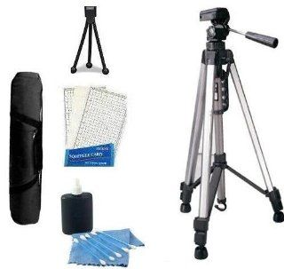 "Professional Tripod Kit includes Professional PRO 67"" Tripod With Deluxe Soft Carrying Case + Mini Tripod + LCD Screen Protectors + Camera Cleaning Kit For Panasonic Lumix DMC TS3, DMC TS2, FX75, FX700, TS10, FH20, FH1, FH3, F3, F2, DMC ZS7, ZS5, FP3,"