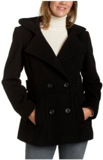 AK Anne Klein Women's Hooded Double Breasted Peacoat, Black, Large