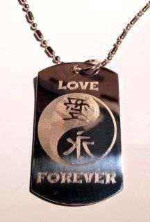 Chinese Calligraphy Character Love Forever YIN Yang Logo Symbols   Military Dog Tag Luggage Tag Key Chain Metal Chain Necklace