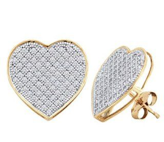 Diamond Heart Earring Studs 10k White Yellow Gold Micro Pave (1/4 CTW) Jewelry