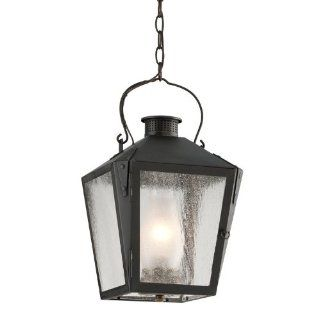 Troy Lighting FF3766CI Nantucket 1 Light CFL Outdoor Lantern Pendant with Seedy Glass, Charred Iron   Landscape Torch Lights