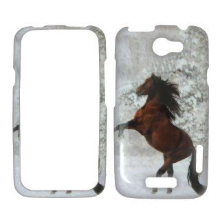 HTC ONE X / 1 X AT&T   Beautiful Horse Snow and Tree Shinny Gloss Finish Hard Plastic Cover, Case, Easy Snap On, Faceplate. Cell Phones & Accessories