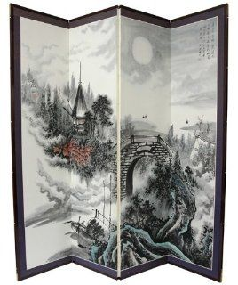 Classic Japanese Chinese Asian Art & D�cor   6ft. Full Moon Bridge Hand painted Chinese Silk Floor Screen Room Divider   Panel Screens