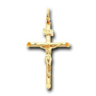 14K Solid Yellow Gold Jesus Cross Crucifix Charm Pendant IceNGold Jewelry
