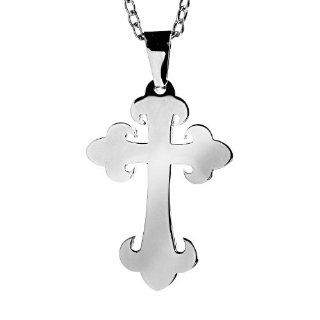 Stainless Steel Budded Stainless Steel Cross Pendant Necklace West Coast Jewelry Jewelry