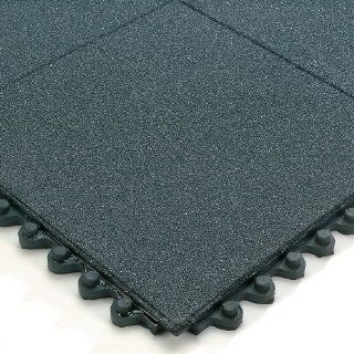 Wearwell 24/Seven Anti Fatigue Mat   Nitrile Rubber   Solid Tile With Gritworks Non Slip Coating   3X3'   Black