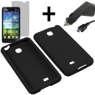 AM Soft Silicone Sleeve Gel Cover Skin Case for AT&T LG Escape P870+ LCD + Car Charger Black Cell Phones & Accessories