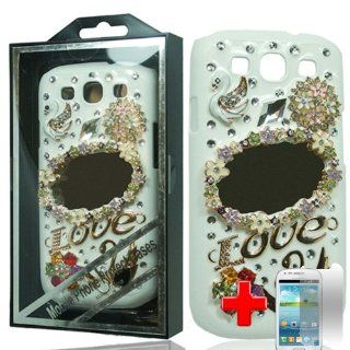 Samsung Galaxy S3 III i9300   2 Piece Snap On 3D Rhinestone/Diamond/Bling Hard Plastic Case Cover, White Swan Mirror Cover + LCD Clear Screen Saver Protector Cell Phones & Accessories