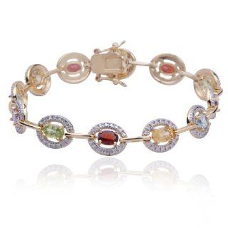 "18k Yellow Gold Plated Sterling Silver Multi Gemstone and Diamond Oval Bracelet, 7.25"" Jewelry"