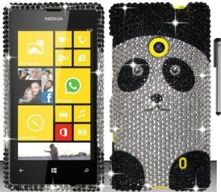 For Nokia Lumia 521 Animal Design Full Diamond Hard Cover Case with ApexGears Stylus Pen (Silver Black Panda) Cell Phones & Accessories
