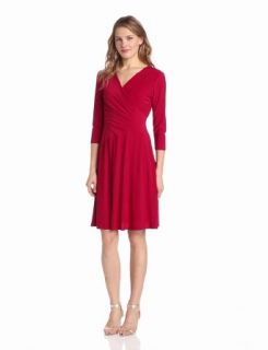 Evan Picone Women's Matte Jersey Surplice Trim Jazz Dress, Red Lacquer, 12