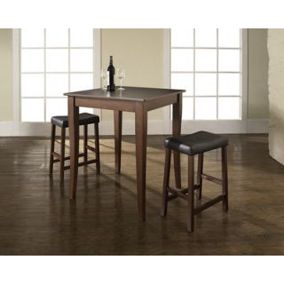 Crosley Three Piece Pub Dining Set with Cabriole Leg Table and Saddle