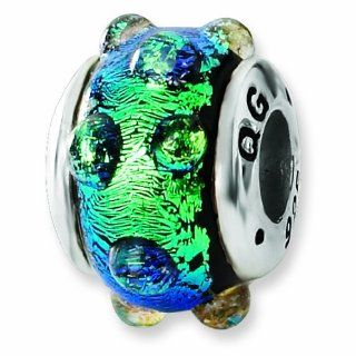 Sterling Silver Blue Dichroic Glass Bead (4mm Diameter Hole) Forza Jewelry Jewelry