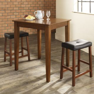 Three Piece Pub Dining Set with Tapered Leg Table and Saddle Seat