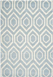 Safavieh CHT731B Chatham Collection Area Rug, 4 Feet by 6 Feet, Blue and Ivory