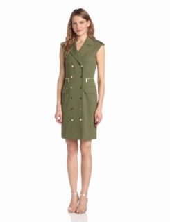 Calvin Klein Women's Double Breasted Sheath Dress, Army, 4