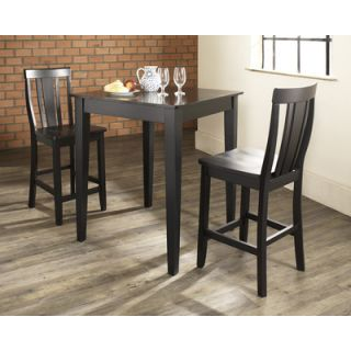Crosley Three Piece Pub Dining Set with Tapered Leg Table and Shield