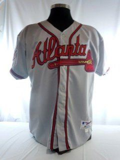 Atlanta Braves Vintage Authentic Russell Road Jersey w/ Hank Aaron 715 Patch   MLB Authentic Adult Jerseys  Sports Memorabilia Jerseys  Sports & Outdoors