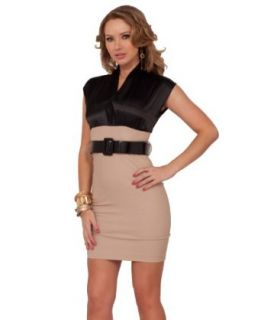 Cap Sleeve V Neck Hight Waist Bottom Career Outfit Fitted Knee Length Mini Dress