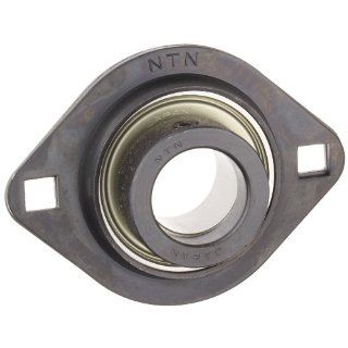 "NTN AELPFL204 012 Light Duty Flange Bearing, 2 Bolts, Eccentric Lock, Non Relubricatable, Contact Seals, Pressed Steel, Inch, 3/4"" Bore, 2 13/16"" Bolt Hole Spacing Width, 2 5/8"" Height Flange Block Bearings"