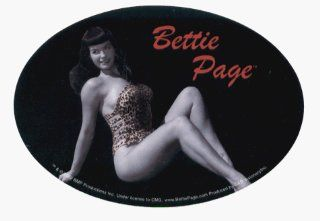 Bettie Page   Oval Logo with Bettie in Leopard Swimsuit   Sticker / Decal Automotive